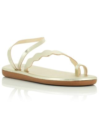 Koralia flat sandals in upcycled gold leather ANCIENT GREEK SANDALS