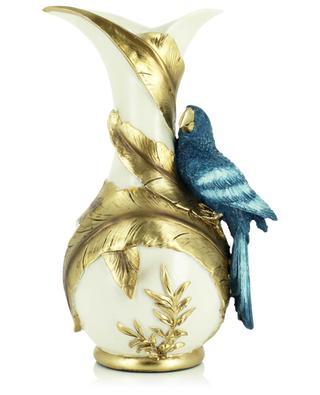 Vase blanc et doré avec perroquet KERSTEN