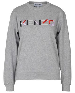 Sweat-shirt à col rond en coton organique brodé KENZO logo KENZO