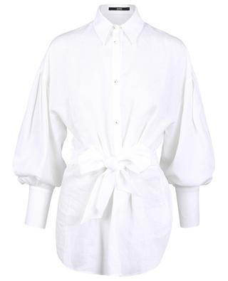 Long belted linen shirt SLY 010