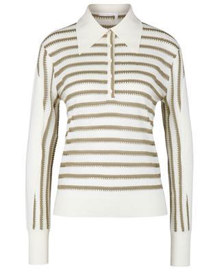 Polo rayé à longues manches en tricot de maille ajourée CHLOE