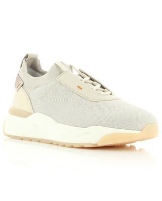 Glitzernde Strick-Sneakers mit Leder SANTONI