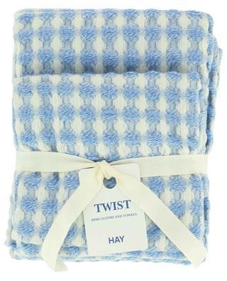Zwei Geschirrtücher im Set in Blau Twist HAY
