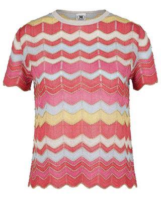 Glitzerndes Lochstrick-T-Shirt mit Zickzackmotiv M MISSONI