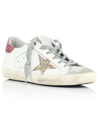 Sneakers aus Leder mit Wildleder und Glitter-Stern Einsätze Super-Star GOLDEN GOOSE