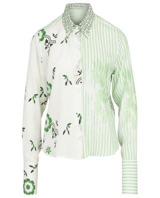 Schmales Materialmix-Hemd mit Blüten- und Streifenprint ERMANNO SCERVINO