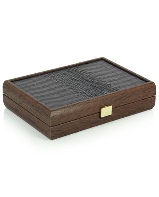 Jeu de cartes en coffret en bois orné de cuir croco MANOPOULOS