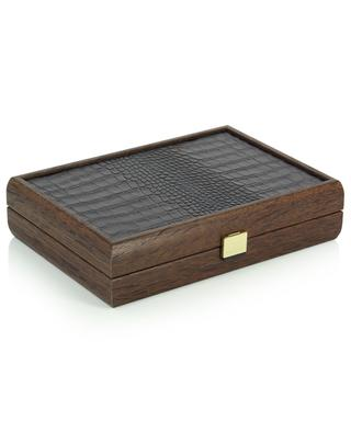 Card game in wooden croc leather adorned box MANOPOULOS