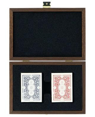 Jeu de cartes en coffret en bois orné de cuir d'autruche MANOPOULOS
