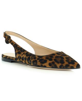 Sandales plates en daim imprimé léopard GIANVITO ROSSI