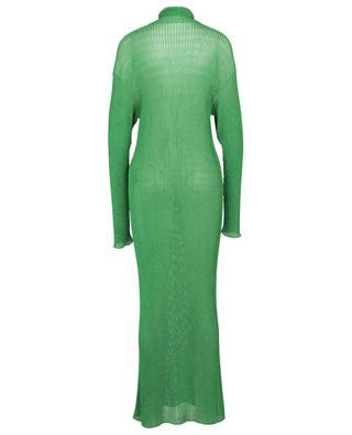 Metallic green rib knit sheath dress BALENCIAGA