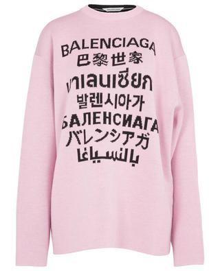Pull jacquard oversize en laine Languages BALENCIAGA