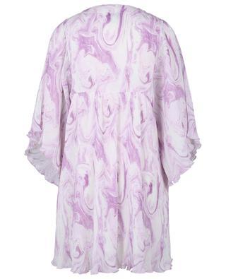 Plissiertes Mini-Empire-Kleid aus Georgette Orchid Blossom GANNI