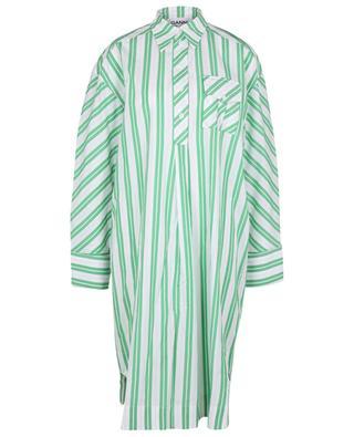 Striped organic cotton oversize shirt dress GANNI