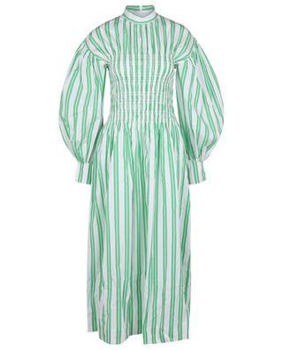 Striped organic cotton smocked dress GANNI