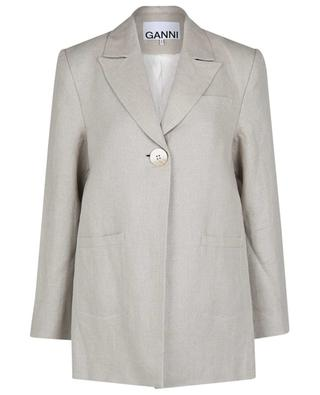 Single-breasted linen oversize blazer GANNI