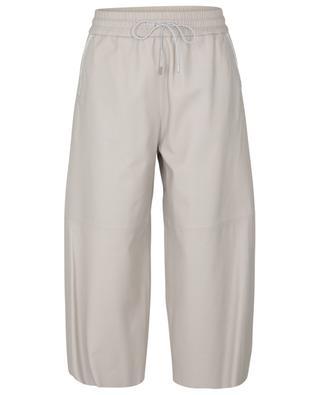 Pantalon large raccourci en cuir brodé de perles FABIANA FILIPPI