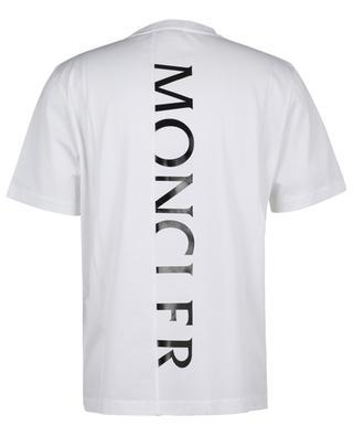 T-Shirt aus Jersey und Baumwollpiqué mit Logo Matt Black MONCLER
