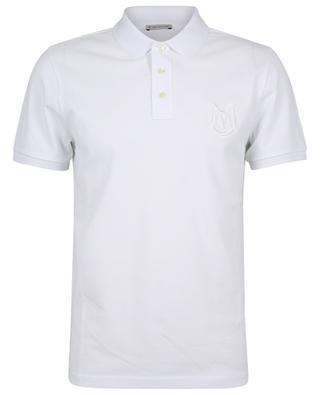 Cotton piqué polo shirt with oversize monogram and logo MONCLER