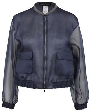Bead embroidered silk organza bomber jacket FABIANA FILIPPI