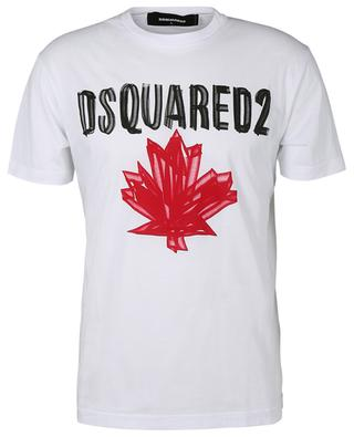 Cotton logo and maple leaf T-shirt DSQUARED2