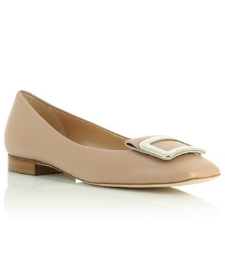 Square toe leather ballet flats with buckle BONGENIE GRIEDER