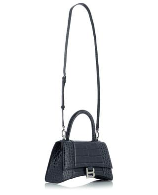 Sac à main en cuir effet croco Hourglass Top Handle Small BALENCIAGA