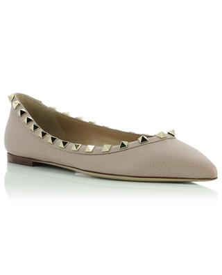 Rockstud pointy toe grained leather ballet flats VALENTINO