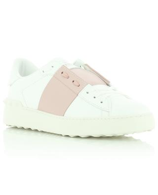 Open white leather sneakers with pink detail VALENTINO