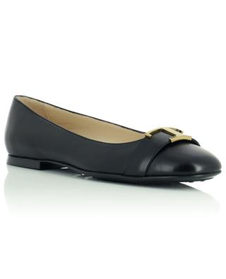 Square toe ballet flats in smooth leather with monogram TOD'S