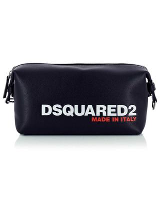 Bob logo printed grained leather toiletry bag DSQUARED2