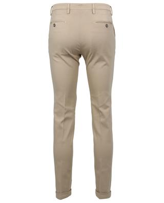 Slim fit piqué effect cotton trousers with turn-ups B SETTECENTO