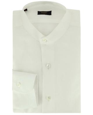 Long-sleeved solid linen shirt with Mandarin collar BARBA
