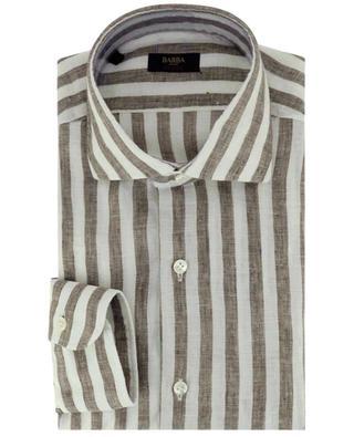 Chemise à manches longues en lin à rayures épaisses BARBA