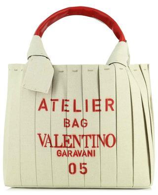 Shopper aus Tuch und Leder Atelier 05 Plissé Small VALENTINO