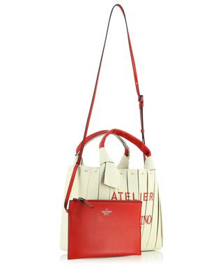 Atelier 05 Plissé Small canvas and leather tote bag VALENTINO