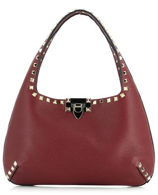 Handtasche aus genarbtem Leder Rockstud Hobo Small VALENTINO