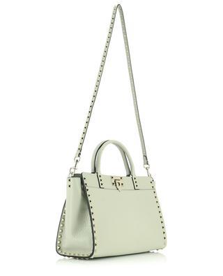 Handtasche aus genarbtem grauem Leder Rockstud Small VALENTINO