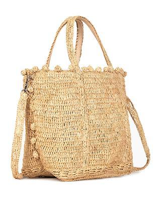 Petit sac cabas en raphia et cuir avec pompons VANESSA BRUNO