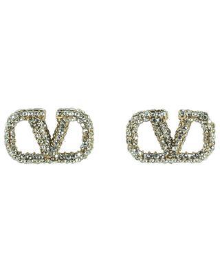 VLogo rhinestone clad golden stud earrings VALENTINO