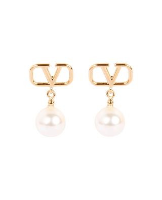 VLogo golden stud earring with pearls VALENTINO