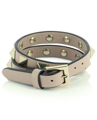 Rockstud double loop studded leather bracelet VALENTINO