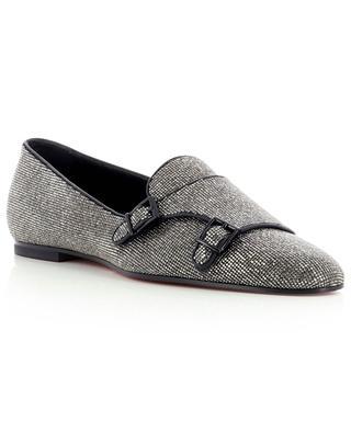 Crystal clad monkstrap fabric shoes SANTONI