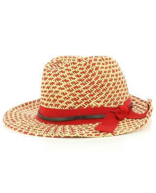 Chapeau borsalino en papier rouge et beige GI'N'GI