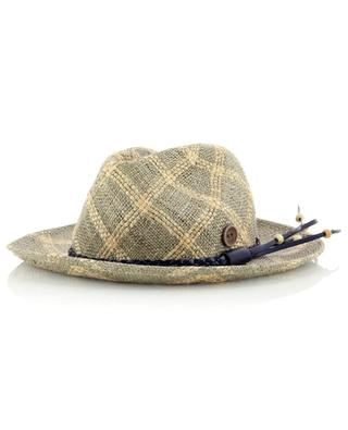 Chapeau en jute à carreaux avec ruban en cuir CATARZI 1910
