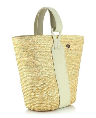 Bucket spirit tote bag in straw and leather CATARZI 1910