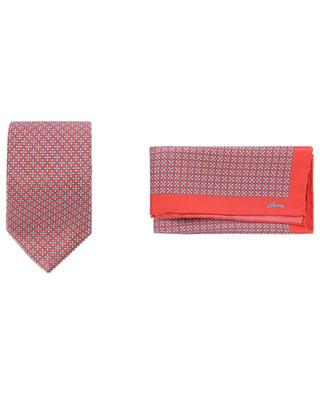Coffret cravate et pochette imprimées grille BRIONI