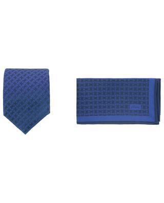 Coffret cravate et pochette à motif logo BRIONI