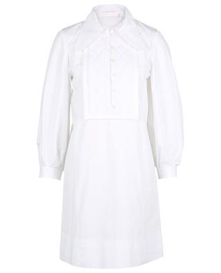 Weisses kurzes Kleid mit gestepptem Latz SEE BY CHLOE