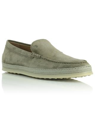 Nuova Pantofola loafers in taupe suede and raffia TOD'S